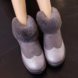 PU Leather Panel Engraving Furry Snow Boots -