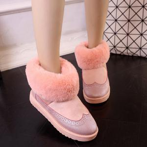 PU Leather Panel Engraving Furry Snow Boots