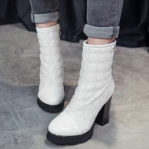 Dots Patent Leather Panel Chunky Heel Boots - WHITE 39