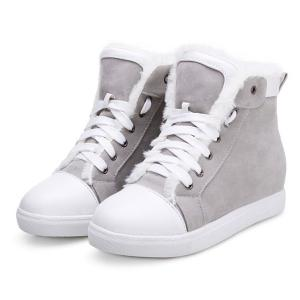 Fuzzy Hidden Wedge Lace Up Short Boots - GRAY 39