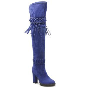 Chunky Heel Criss-Cross Fringe Thigh Boots