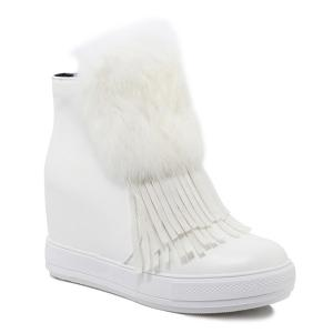 Fringe Furry Hidden Wedge Boots - White - 38