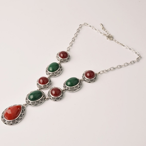 Retro Oval Faux Gem Pendant Necklace - RED