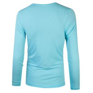 Plain Round Neck Basic T Shirt - AZURE 2XL