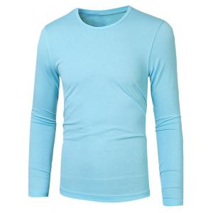 Plain Round Neck Basic T Shirt - Azure - M