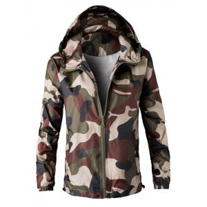 Zip Up Hooded Camouflage Lightweight Jacket