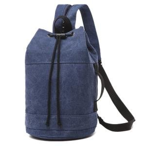 String Zippers Canvas Backpack - Deep Blue - 40