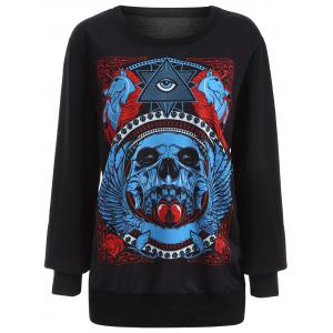 Halloween 3D Eye Skulls Print Sweatshirt - BLACK 5XL