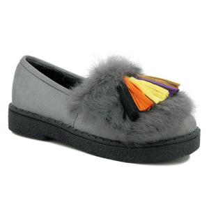 Colored Tassel Faux Fur Suede Flat Shoes - Gray - 38