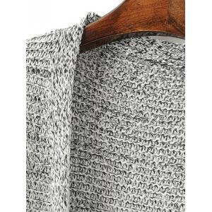 Open Front Knitted Cardigan with Pockets - GRAY ONE SIZE