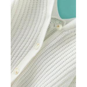 V Neck Cable Knit Sweater with Back Buttons - WHITE L