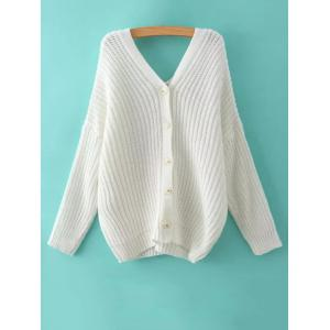 V Neck Cable Knit Sweater with Back Buttons -