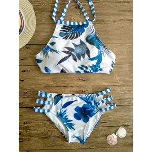 Printed Cut Out High Neck Swimsuit Bikini