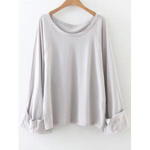 Casual Scoop Neck Tunic T-Shirt - Gray - One Size