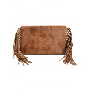 PU Leather Fringe Roll Over Clutch Bag -