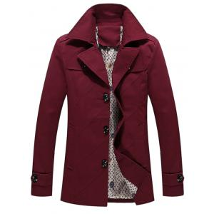 Multi Button Embellished Line Pattern Epaulet Coat -