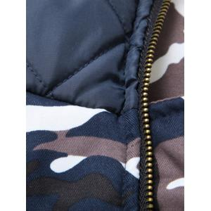 Zip Up Camouflage Fur Hooded Padded Coat - CAMOUFLAGE COLOR 2XL