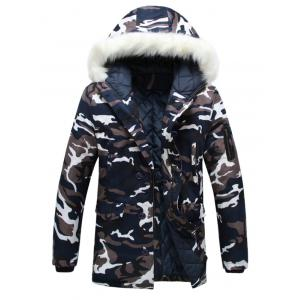 Zip Up Camouflage Fur Hooded Padded Coat - Camouflage Color - M