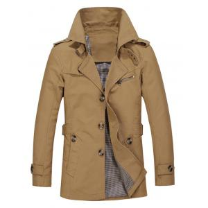 Turndown Collar Single Breasted Epaulet Trench Coat - Dark Khaki - 3xl