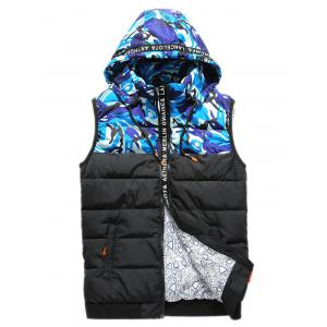 Zip Up Camo Panel Hooded Vest - Blue - Xl