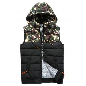 Zip Up Camo Panel Hooded Vest - Green - S