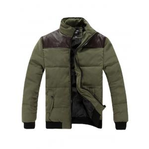 Stand Collar PU Spliced Padded Jacket