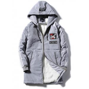 Patch Design Zip Up Striped Hooded Padded Coat - Gray - Xl