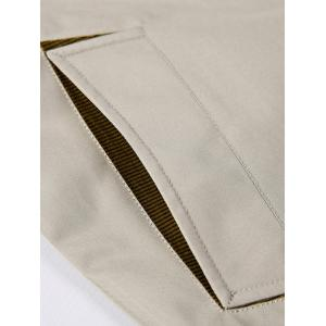 Turndown Collar Single Breasted Epaulet Wind Coat - LIGHT KHAKI 2XL