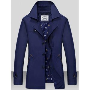 Turndown Collar Single Breasted Epaulet Wind Coat - Deep Blue - M