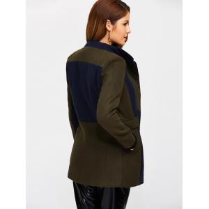 Asymmetrical Color Block Wool Blend Coat - ARMY GREEN 3XL