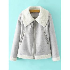 PU Leather Faux Shearling Jacket - Gray - M