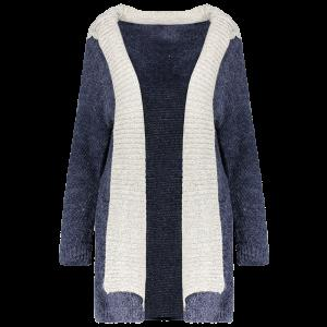 Hooded Faux Twinset Cardigan with Pocket - Purplish Blue - M