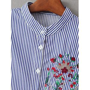 Stand Neck Striped Embroidered Shirt - STRIPE L