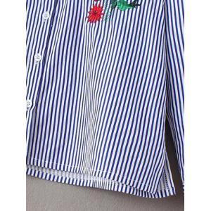 Stand Neck Striped Embroidered Shirt -