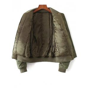 Quilted Souvenir Bomber Jacket - ARMY GREEN L