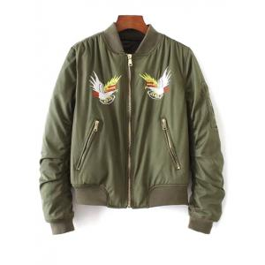 Quilted Souvenir Bomber Jacket - Army Green - S