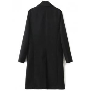 Lapel Collar Back Slit Peacoat - BLACK L