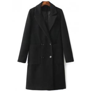 Lapel Collar Back Slit Peacoat