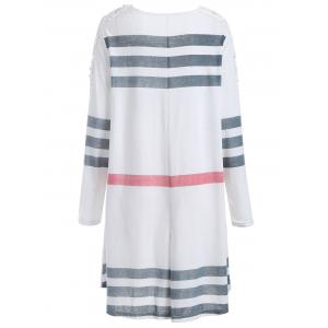Plus Size Casual Lacework Splicing Stripes Swing Dress - WHITE 5XL
