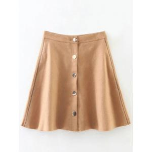 Wool Blend Button Down Mini Skirt - Khaki - M