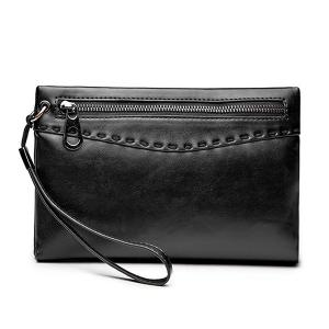 Zipper Stitching Metal Clutch Bag - Black