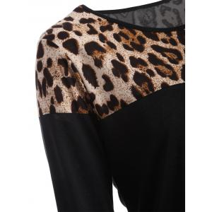 Leopard Print Long Sleeve Tee - BLACK XL