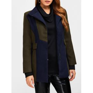 Asymmetrical Color Block Wool Blend Coat - Army Green - S