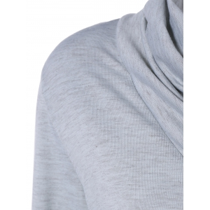 Cowl Neck Long Sleeve Button Tee -