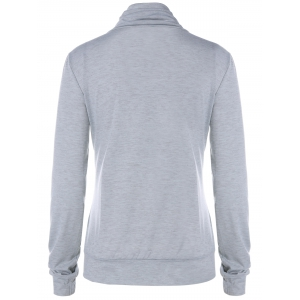 Cowl Neck Long Sleeve Button Tee - LIGHT GRAY L
