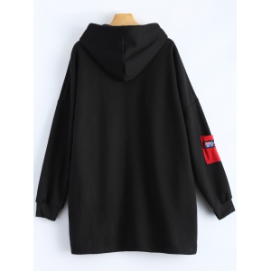 Patchwork Plus Size Hooded Zip Up String Coat - BLACK 2XL