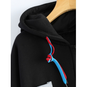 Patchwork Plus Size Hooded Zip Up String Coat - BLACK 4XL
