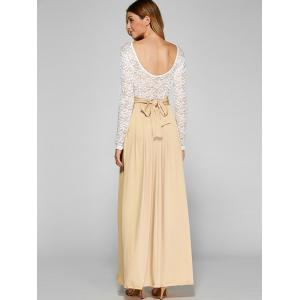 Lace Panel Maxi Evening Long Sleeve Dress - APRICOT S