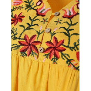 Plus Size Embroidered Casual Tunic Dress With Short Sleeves - YELLOW ONE SIZE