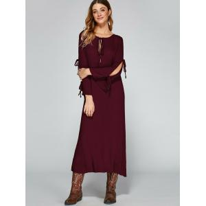Split Sleeve Empire Waist Tea Length Dress -